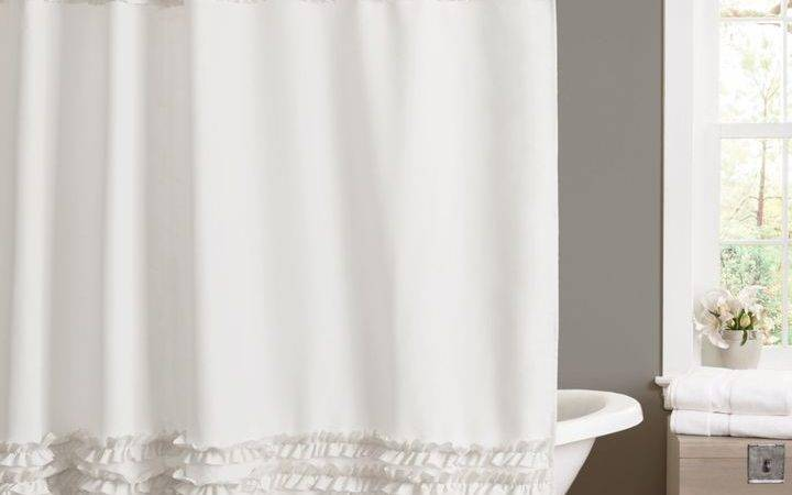 Bed Bath Beyond Amelie Ruffle Shower Curtains White