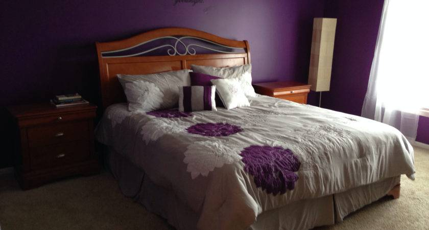 Bedroom Awesome Purple Gray Painted
