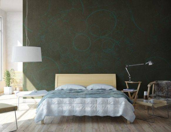 Bedroom Beechwood Floors Dark Green Walls Olpos Design