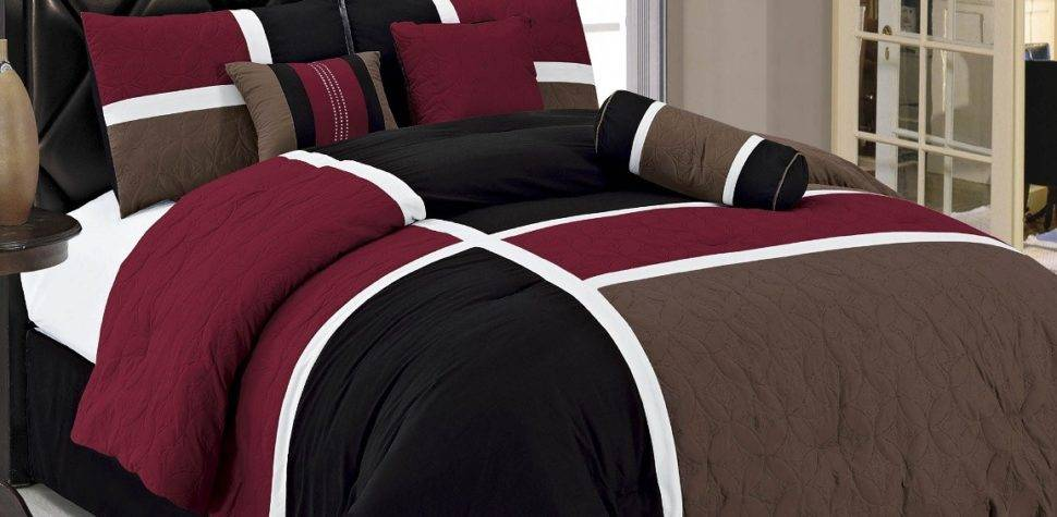 Bedroom Dazzling Brown Black Burgundy Cotton California