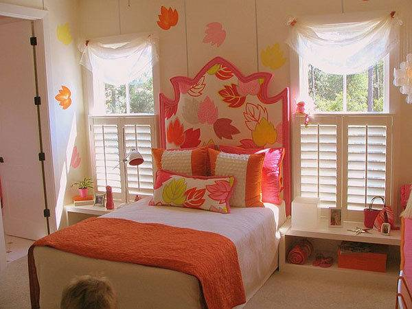 Bedroom Girls Multi Color Pattern Decorating Ideas
