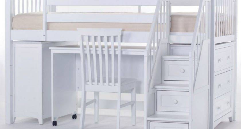 Bedroom Good Looking Twin Loft Bed Desk White