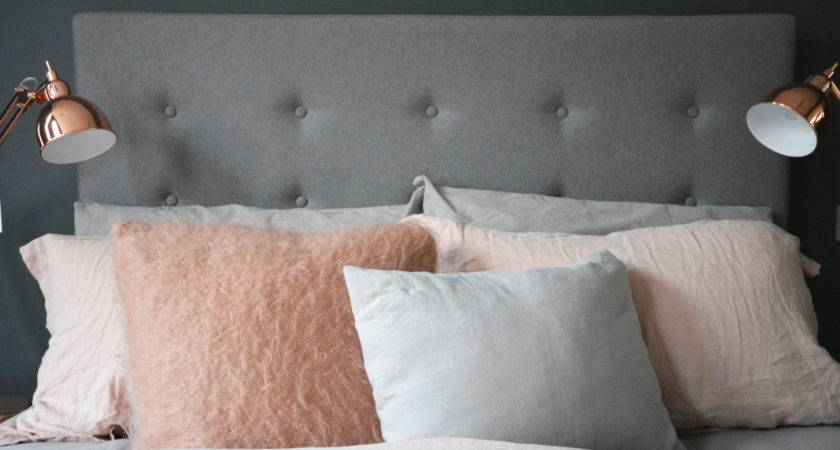 Bedroom Makeover Grey Copper Pink Flat Design