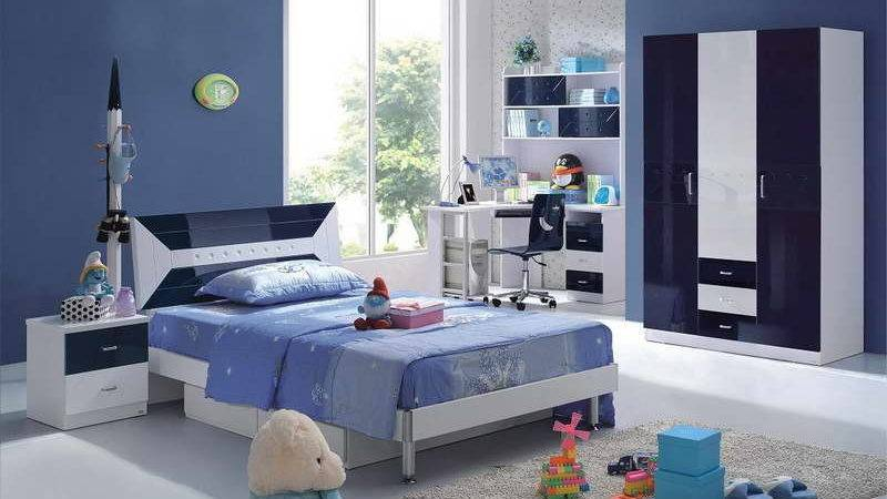 Bedroom Navy Blue Furniture White Bears