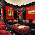 Bedroom Red Gold Curtains