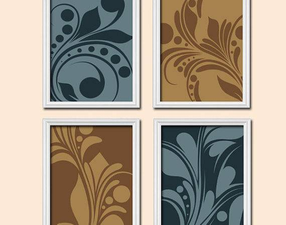 Bedroom Wall Art Canvas Prints Brown Blue Bathroom