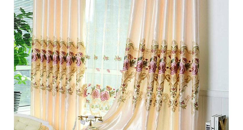 Beige Color Elegant Embroidery Floral Curtain