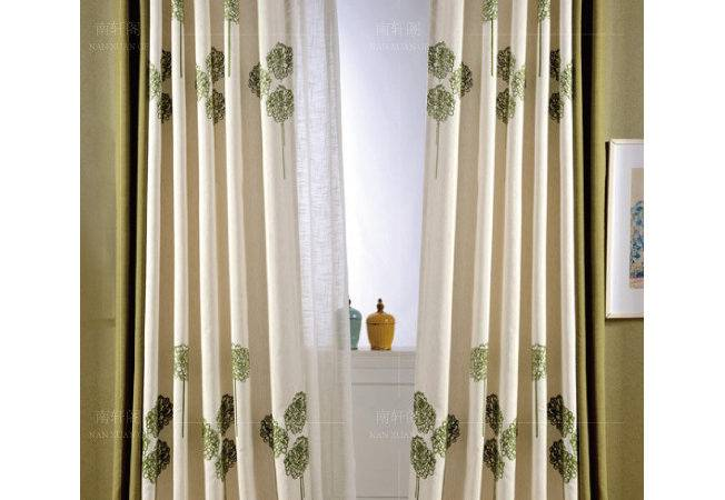 Beige Green Floral Embroidery Linen Long Color Block