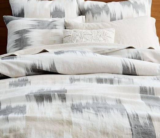Belgian Flax Linen Blurred Ikat Duvet Cover Shams West Elm