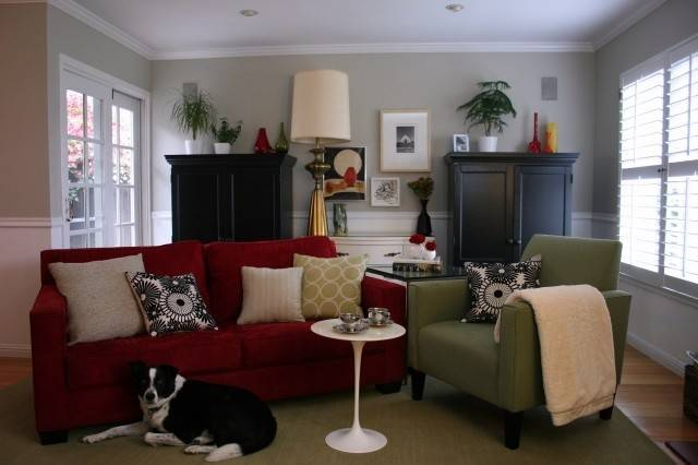 Benjamin Moore Revere Pewter Walls Love Red Sofa
