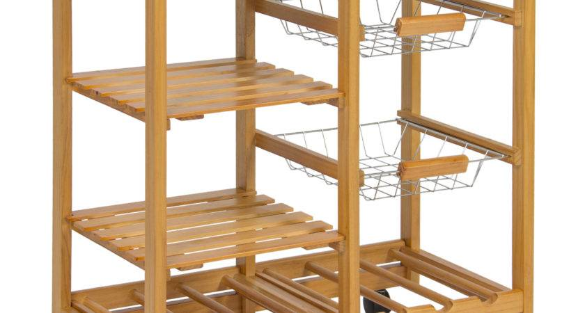 Best Choice Products Rolling Wood Kitchen Storage Cart