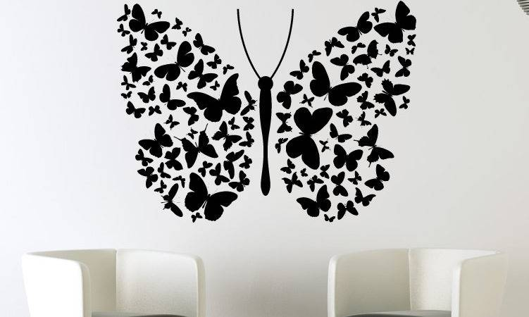 Big Butterfly Lots Small Butterflies Wall Art Decals