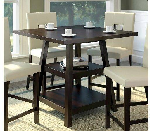 Bistro Counter Height Dining Table Shelves Wood