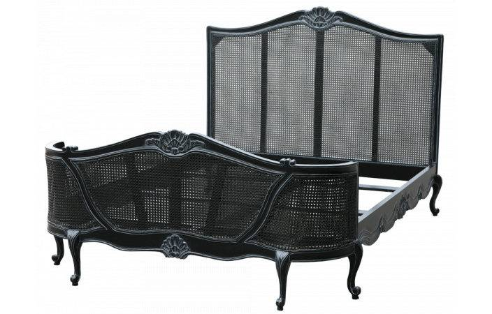 Black Antique French Style Bed Furniture