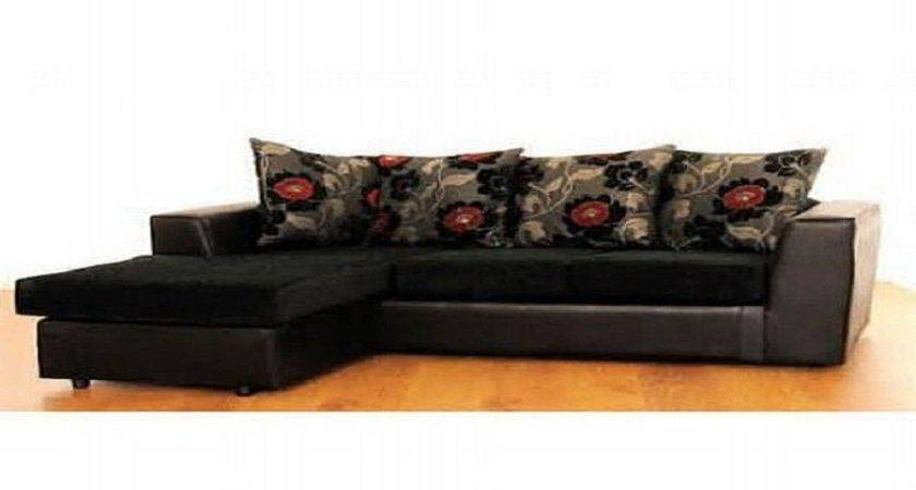 Black Brown Red Cushions Corner Fabric Leather Sofa Bed