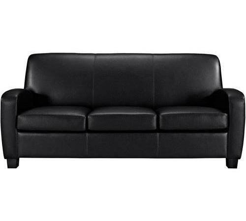 Black Faux Leather Sofa Living Room Furniture Thick Padded