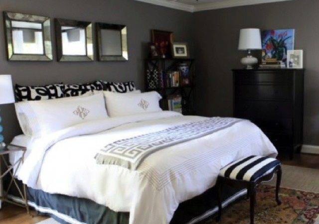 Black Furniture Gray Walls White Ceiling Room