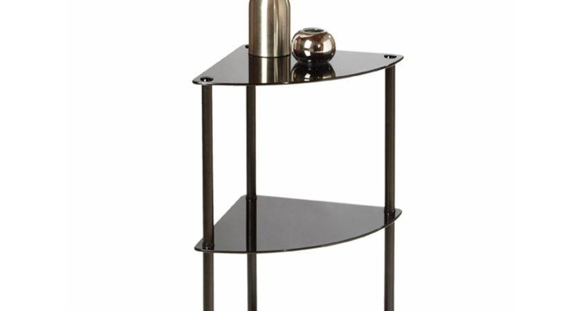 Black Glass Triangle Small Corner End Table