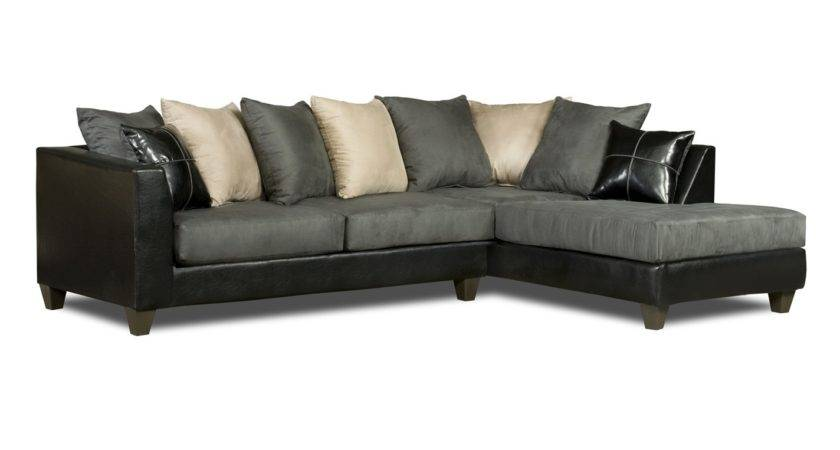 Black Gray White Sectional Sofa Loose Pillow Back