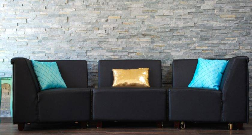 Black Leather Couch All Pieces Decorative Pillows Not