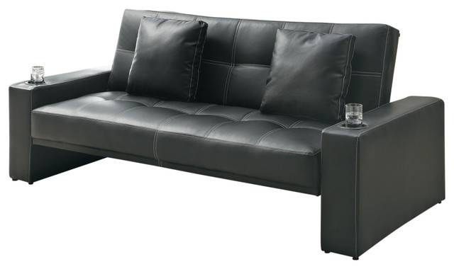 Black Leather Like Fabric Arm Sofa Bed Futon Sleeper