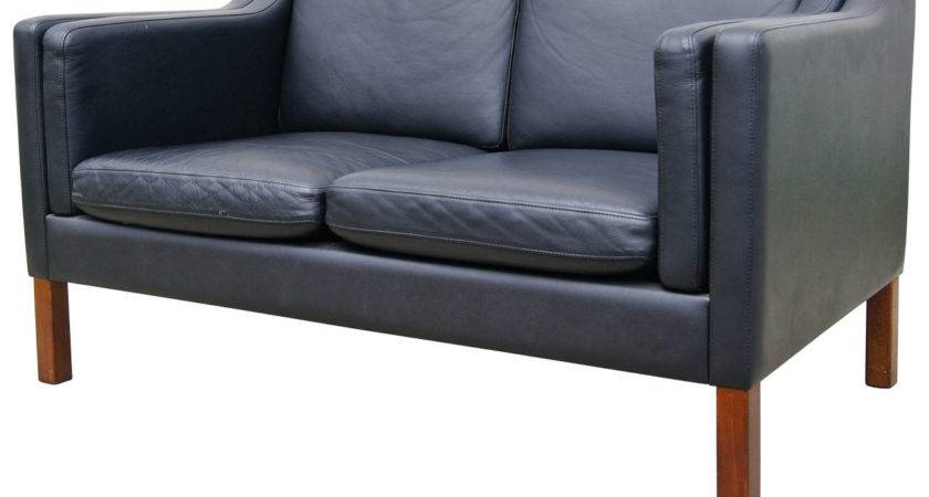 Black Leather Settee Style Borge Mogensen