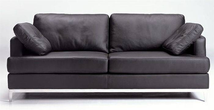 Black Leather Sofa Included Throw Pillows Prime