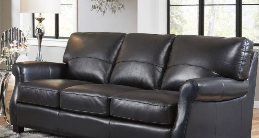 Black Leather Sofa Loveseat Plush Pillows Restoration