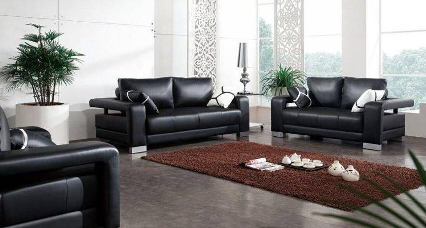 Black Leather Sofa Set Matching Throw Pillows