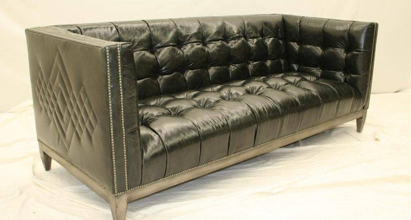 Black Leather Tufted Sofa Chesterfield