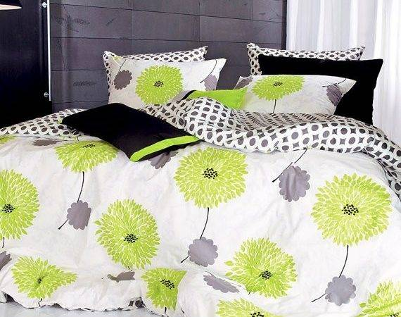 Black Lime Green Bedding Gray Floral