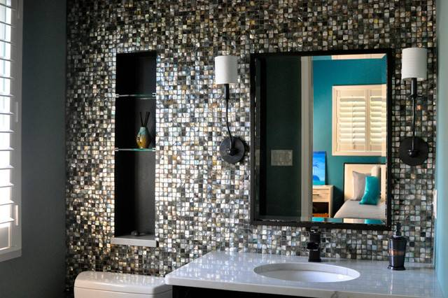 Black Lip Mother Pearl Mosaic Bathroom