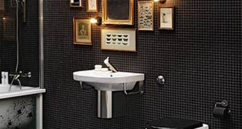 Black Mosaic Tile Bathroom Walls Framed Wall Arts