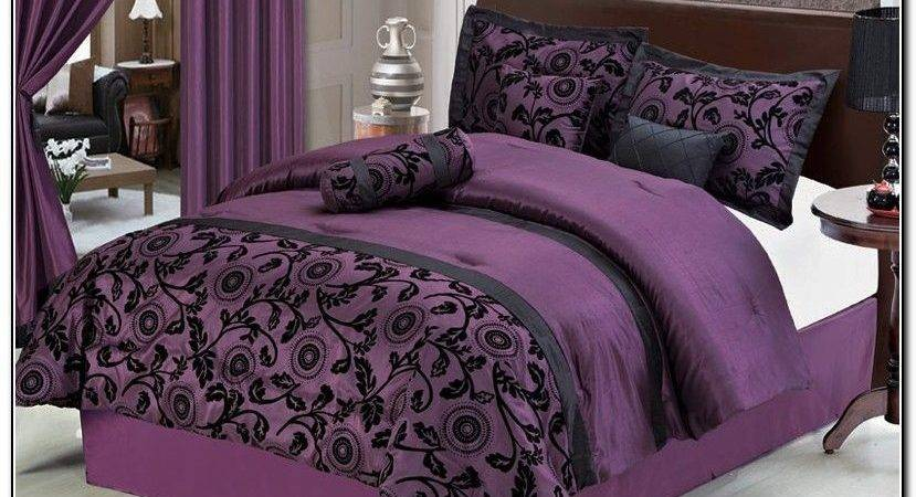 Black Purple Comforter Sets Furnitureteams