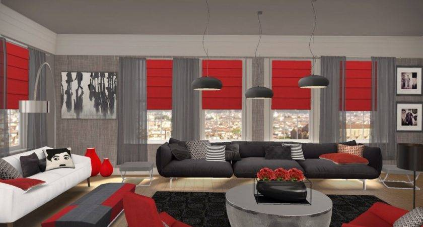 Black Red Living Room Furniture Ideas