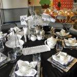 Black Silver Table Settings Gold Christmas