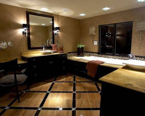 Black Tan Bathroom Home Design Ideas