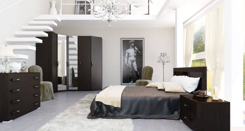 Black White Brown Bedroom Mezzanine Interior