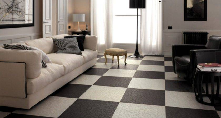 Black White Floor Tile Designs Beige Sofa