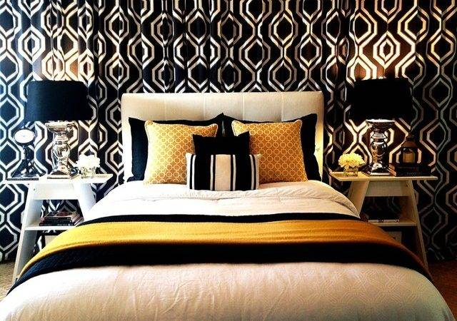Black White Gold Yellow Bedroom Curtain