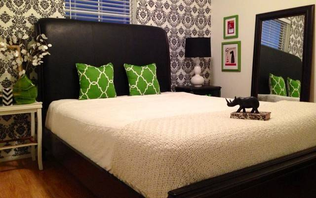 Black White Green Damask Guest Room Contemporary