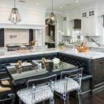 Black White Kitchen Island Booth Seating Decorate