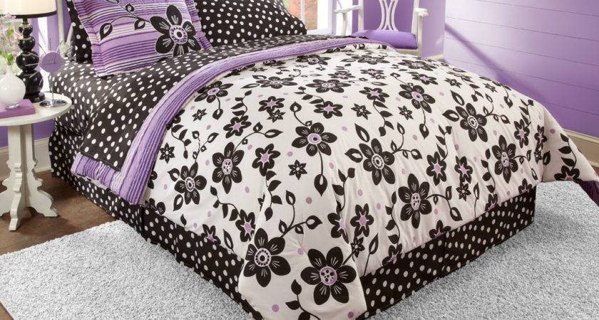 Black White Purple Bedding Floral Polka Dot