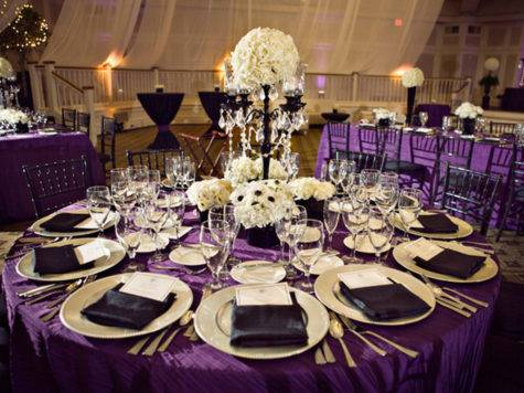 Black White Purple Wedding Reception Via Weddingwoof