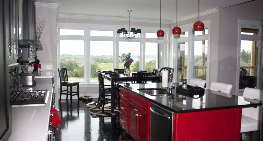 Black White Red Kitchen Designs