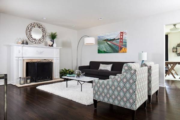 Black White Small Living Room Home Round