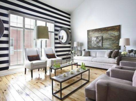 Black White Striped Living Room
