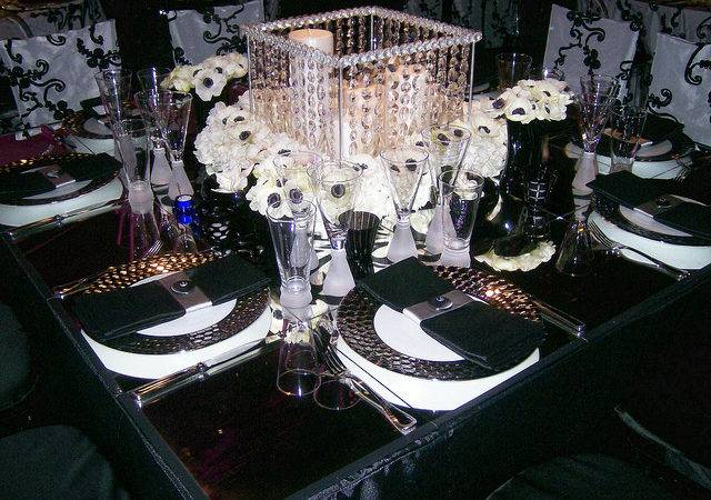 Black White Wedding Table Centerpiece