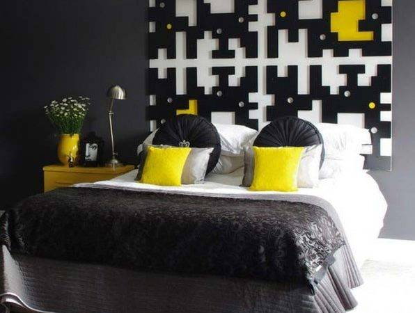 Black Yellow Bedroom Modern Other Metro