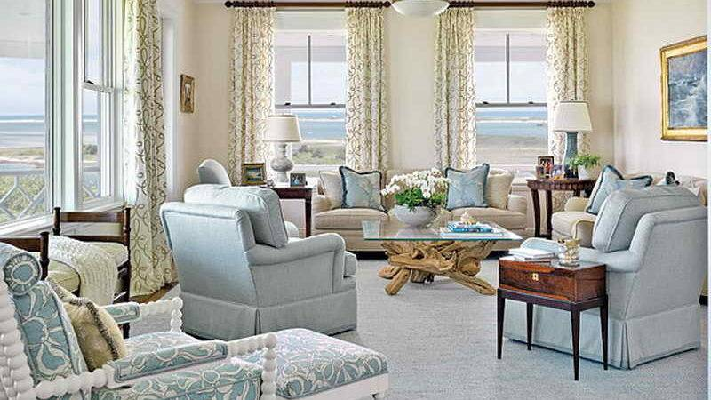 Bloombety Coastal Living Room Design Ideas Curtain